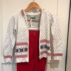 Red Shimmery Pants w/ Snowflake & Heart Sweater